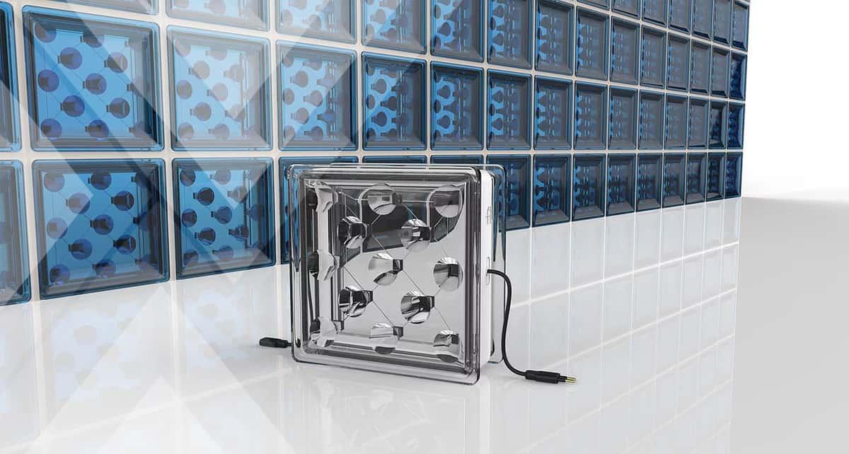 bloco de vidro que gera energia