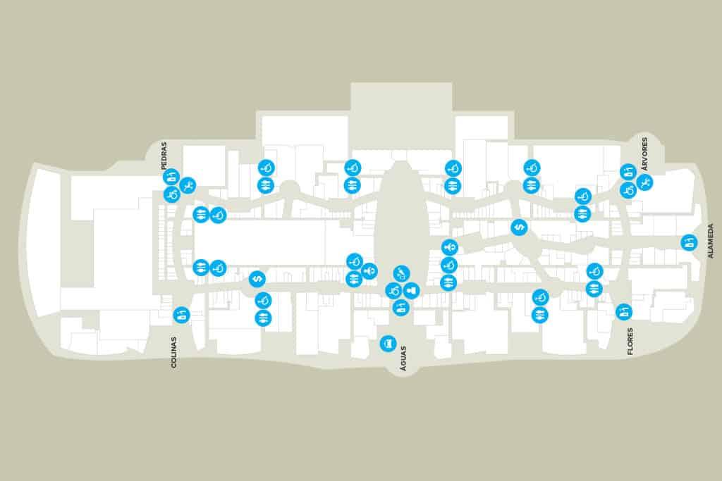 Planta Shopping Parque Dom Pedro, em Campinas, cuja circulação interna é direcionada para um fluxo circular.